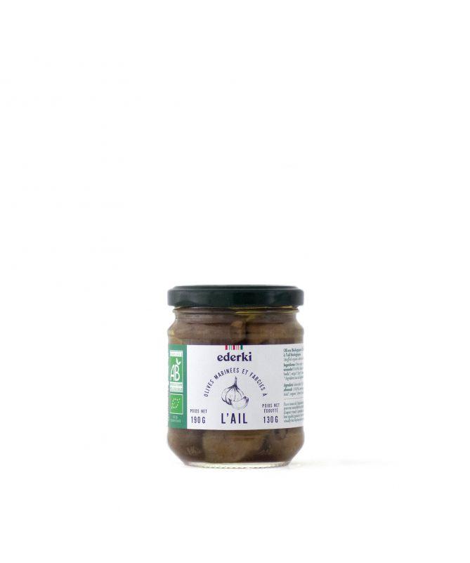 Image du pot de 190 grammes d'olives farcies à l'ail bio Ederki