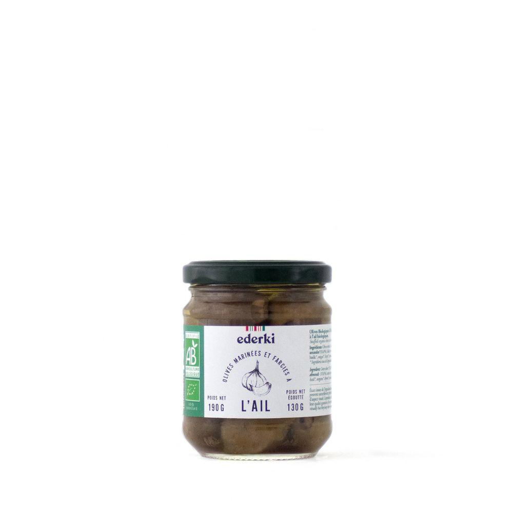 Maison Ederki. Olives vertes farcies à l'ail bio. Gamme biologique. 190 grammes.