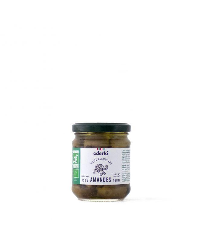 Image du pot  de 190 grammes d'olives vertes farcies aux amandes bio Ederki