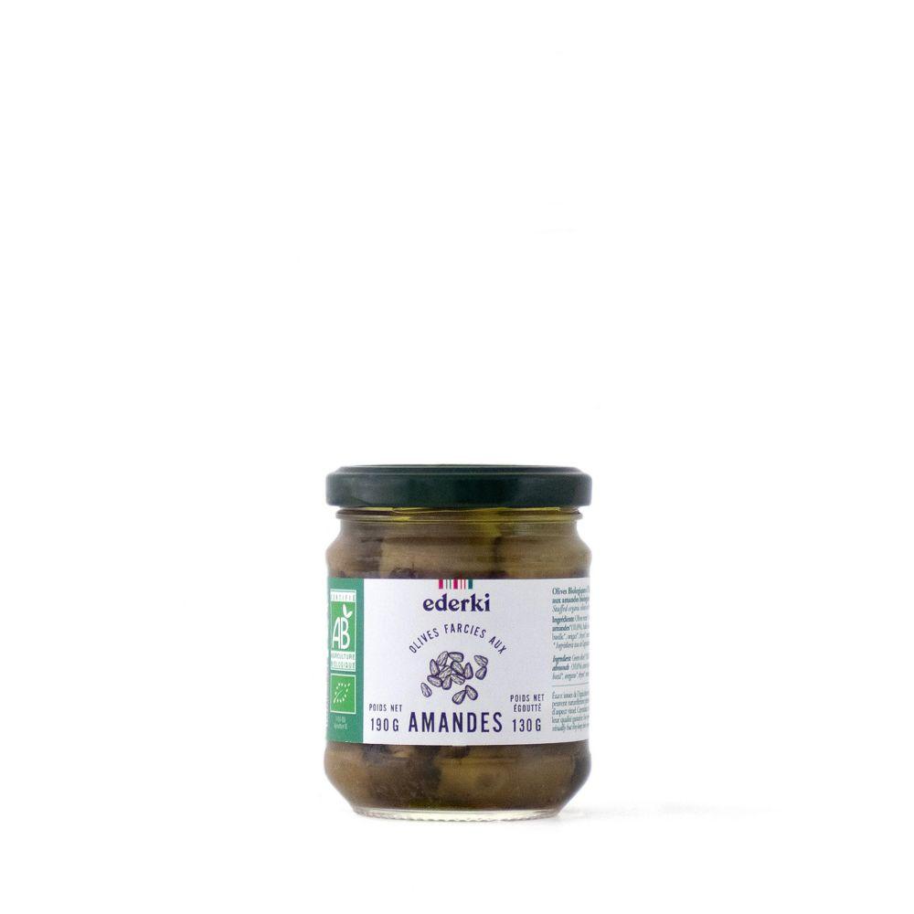 Maison Ederki. Olives vertes farcies aux amandes bio. Gamme biologique. 190 grammes.