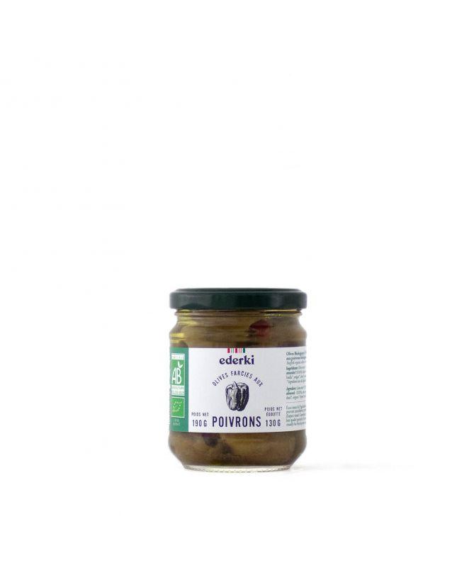 Image du pot de 190 grammes d'olives vertes farcies aux poivrons bio Ederki