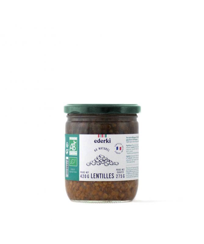 Image du pot de 420 grammes de lentilles au naturel bio Ederki