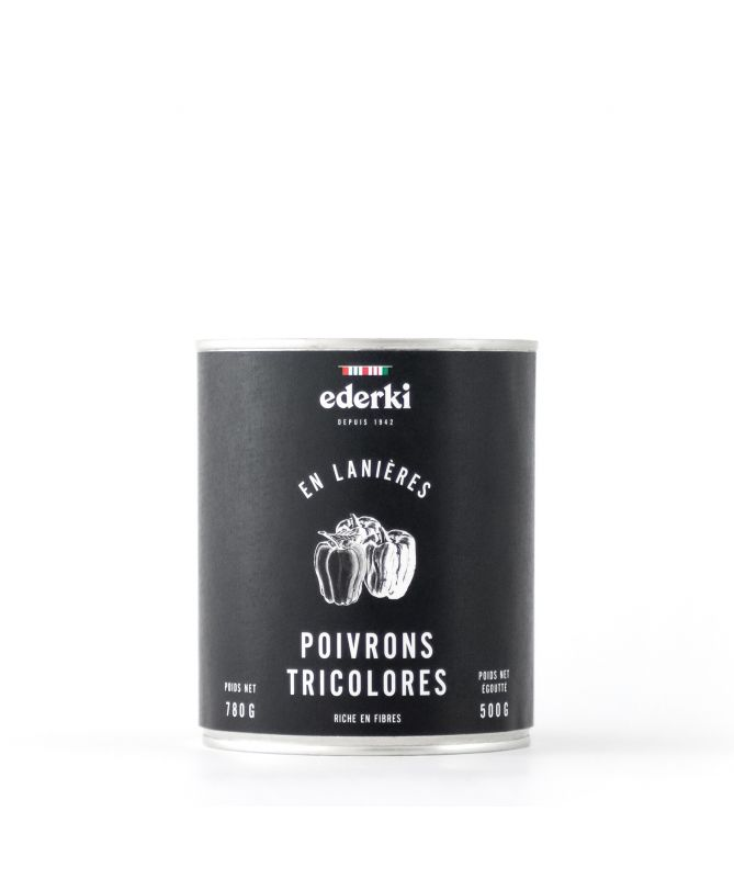 Image du pot de 780 grammes de poivrons tricolores Ederki