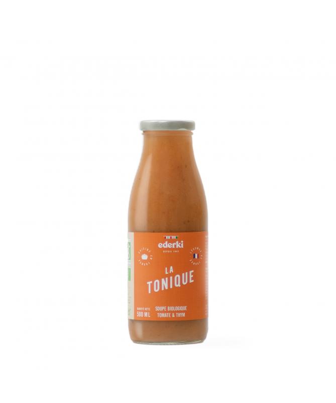 Image de la bouteille de 50 centilitres de soupe tomate thym bio Ederki