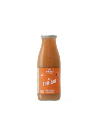 Maison Ederki. Soupe bio tomate thym La Tonique. 50 centilitres. Gamme biologique.