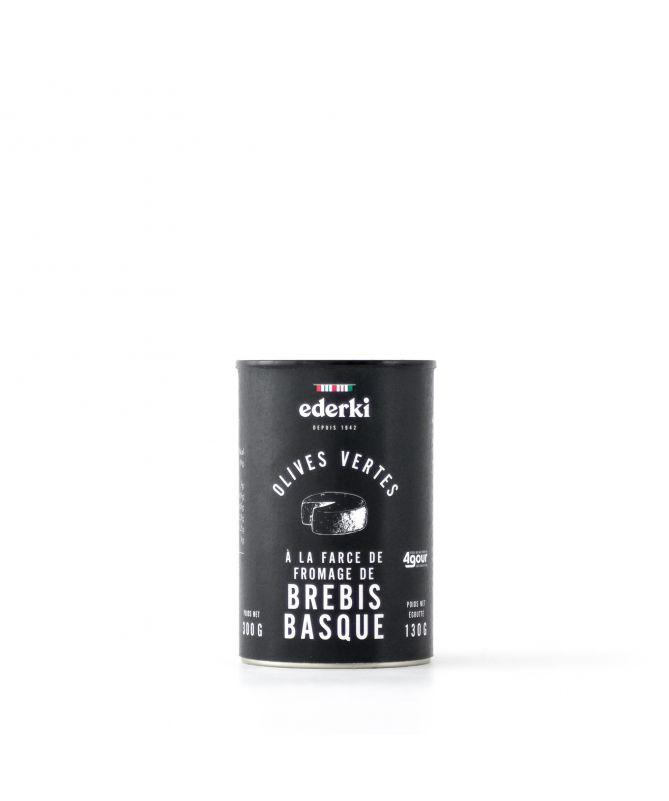 Image du pot d'olives vertes  Ederki farcies au fromage de brebis basque de la marque Agour, 300 grammes
