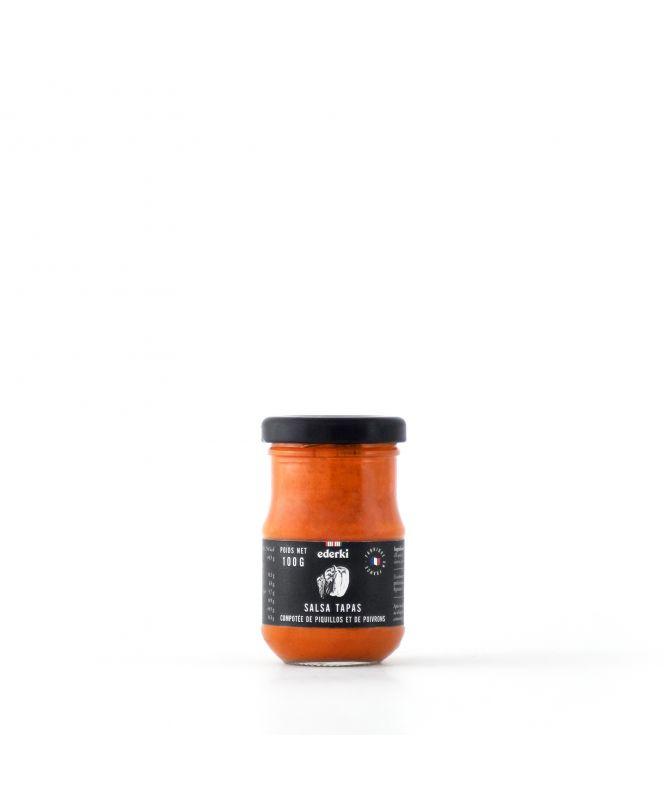 Image du pot de 100 grammes de compote de piquillos et poivrons, salsa tapas Ederki