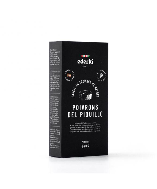 Image de la boîte  de  240 grammes de poivrons del piquillo farcis au fromage de brebis basque Ederki