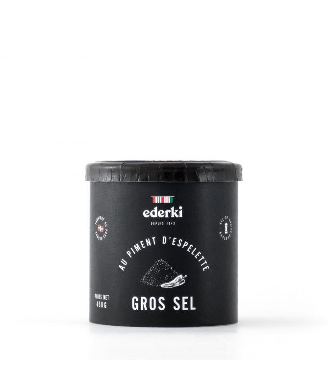 Image du pot de 450 grammes de gros sel au Piment d'Espelette  Ederki