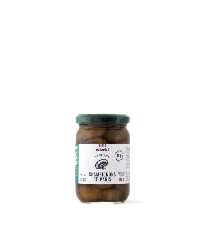 Image du pot de 200 grammes de champignons de Paris au naturel bio  Ederki